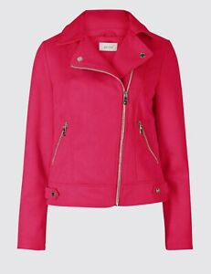 Brand New Vegan Leather Faux Suede Biker Jacket Raspberry Fuchsia RRP£65 Size 12