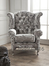 Bespoke Charlotte Grey Crush Velvet Wing Chair Armchair High Back Chair Button