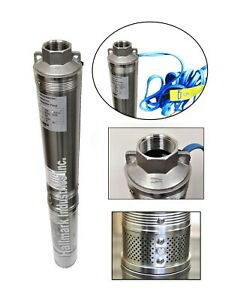 """Submersible Pump, Deep Well, 4"""", 1/2HP/110V, 25 GPM/150', All S.S, Hallmark Ind"""