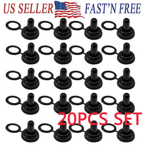 20pcs Toggle Switch Waterproof Cap Rubber Cover Water Resistant Boot Cover Black for 12mm Toggle switches 12mm Handle Black Safety 220v