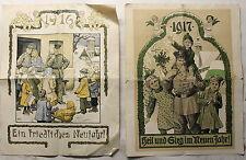 2x Neujahrsgrußblatt Brief 1916 & 1917 farbig illustriert 1. Weltkrieg xz