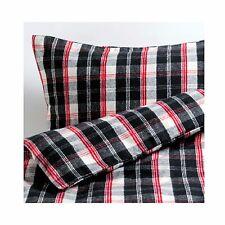 Ikea Tempeltrad Single Duvet/Quilt Cover & Pillowcase - black/red tartan