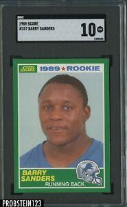 """1989 Score Football #257 Barry Sanders RC Rookie HOF SGC 10 """" PACK FRESH """""""