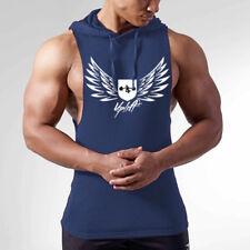 Men's Hoodies Vest Muscle Stringer Bodybuilding Cotton Gym Tank Top Hooded Shirt