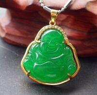 Gold Plate CHINESE Green JADE Pendant Buddha God Diamond Imitation 开心佛 320504