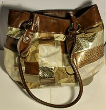 Rosetti Brown w/ Accents Purse w/ drop Handles Button Zipper & Pockets