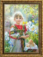 "Hand-painted Original Oil painting art Impressionism girl cat on Canvas 24""X36"""