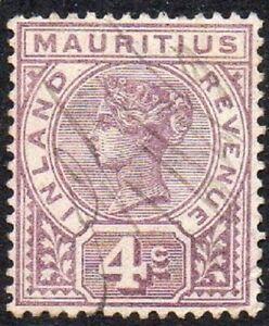 Mauritius 1896 - 1898 Queen Victoria Inland Revenue Purple 4c Fine USED QV Stamp