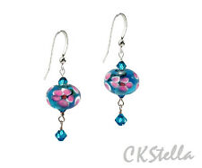 *CKstella*  Sky Blue Pink Flower Lampwork .925 Sterling Silver Earrings