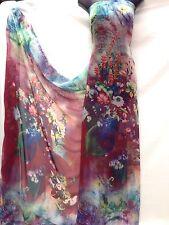 Designer Multicolore Tessuto Stampa Chiffon Abito Matrimonio Craft Luce