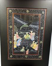 More details for indian silk painting signed. 20th century.