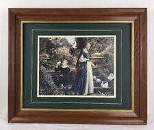 "NICE Francis Sydney Muschamp framed art print Two Girls FEEDING THE DOVES 20x24"""
