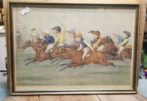 "Framed Antique Vanity Fair Jockey Double Lithograph ""The Winning Post"",1888."