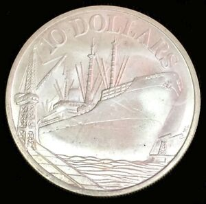 1977 SILVER SINGAPORE $10 ANNIVERSARY OF INDEPENDENCE / SHIP IN PORT COIN BU