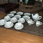 22 Pc Childs WHEAT CHINA TEA SET Gold Trim Vintage Made In Japan Hand Painted