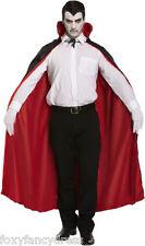 Noir + Rouge RÉVERSIBLE Cape Homme Vampire Devil CAPE Déguisementlacet Halloween