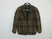 Ralph Lauren Blazer Jacket Wool Plaid Check Lined Elbow Patch Brown Womens 6