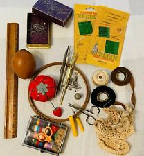Lot of Vintage Sewing Items / Antique Scissors, Trim, & other Items