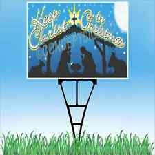 """18""""x24"""" KEEP CHRIST IN CHRISTMAS Outdoor Yard Sign & Stake Lawn Church Jesus"""