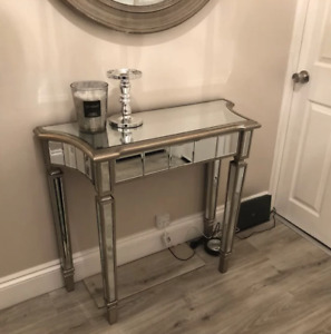 Modern Glass Console Table Venetian Mirrored Furniture French Silver Hallway