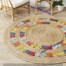 Round Bohemian Braided Handwoven Home Decor Natural Jute Floor Carpet 7 Feet Rug