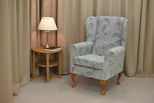 Maida Vale Floral Grey Wing Back Fireside Chair - 14605 - NEW