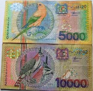 Surinam Suriname 5000 & 10000 Gulden 2000 Birds Used