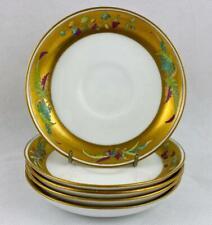 5 x Antique Minton Real Gold Gilt Porcelain Saucer Set 19thc~1884 Impressed Mark