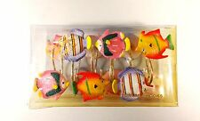 Twelve Shower Curtain Hooks - Catalina Deluxe Brand - 12 Bright Colorful Fishies