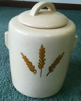vintage large McCoy ceramic pottery wheat large cookie jar with lid mid century