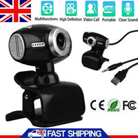 USB 2.0 HD Webcam Camera Web Cam With Mic For Computer PC Laptop Office Home UK