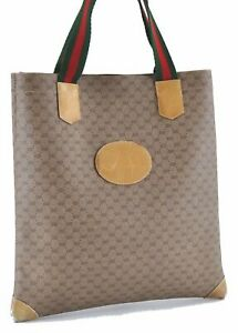 Authentic GUCCI Micro GG PVC Leather Tote Hand Bag Brown D5656