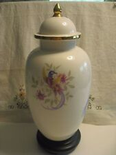 Tall Ginger Jar Oriental Stand WDBase Beautiful Exotic Birds & Blooms Gold Trim