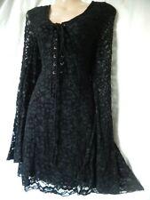 Corset Dress Gothic Lolita Vamp Lace Black Victoriana Wiccan 8 10 36 38 US 4 6