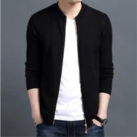 Men's Short Zip Up Trench Coats Slim Sweater Knitted Jacket Knitwear Outwear