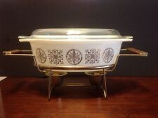 1958 Vintage PYREX Promotional 2 1/2 Qt HEX Signs Oval Casserole With Warmer