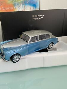 Rolls Royce Phantom VI Light Blue/Silver limited in 1:18