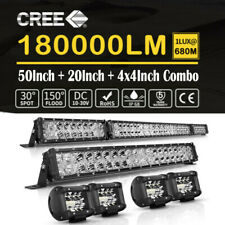 52 inch + 20inch LED Light Bar Spot Flood Combo 4 inch Driving Work Reserve Pods