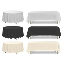 Polyester Tablecloth, White Ivory Black, Round Rectangle, Banquet Wedding Party