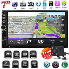 "7"" GPS Sat Nav DVD Player 2 Din Touch Screen Car Stereo Head Unit FM TV AUX+CAM"