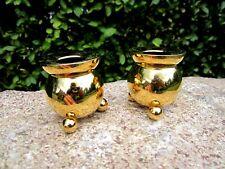 2 Design Kerzenhalter Kerzenständer 24 Karat Goldauflage Asmussen Denmark Paar