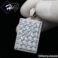 MEN 925 STERLING SILVER LAB DIAMOND ICED OUT BLING HIP HOP DOG TAG PENDANT*SP223