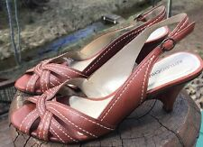 """Arturo Chiang Women's """"Lou"""" Brown Leather Slingback Heels Size 8M US"""