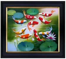 Framed, Koi Carp Pond, Quality Hand Painted Oil Painting 20x24in