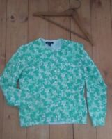 LANDS' END size SMALL 6-8 mint green seahorse sea pony cardigan sweater