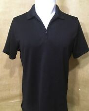 Alfani Men's Golf Shirt Medium Moisture Wicking Ribbed Black