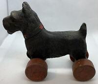 Vintage Wooden Scottie Dog Pull Toy 5 Inch