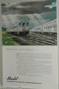 1953 Budd Co. advertisement, BUDD RDC-1 meeting NYC Empire State train