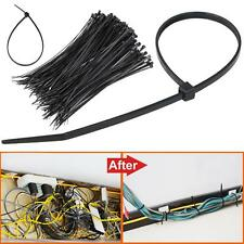 "1000PCS 8"" inch Black Network 50 Lbs Zip Nylon Cable Cord Wire Tie Strap US"