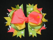 "NEW ""CORAL & LIME Zebra"" Hairbow Alligator Clips Girls Ribbon Hair Bows 5 Inches"